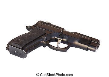 Black gun on a white background