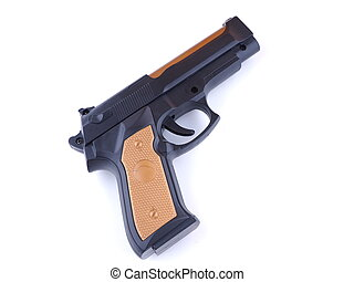 black gun on white background