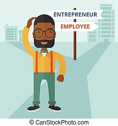 A black guy confused standing while scratching his head having a problem, confused whether enterpreneur or employee. A contemporary style with pastel palette soft blue tinted background. Vector flat design illustration. Square layout.