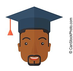 Black guy head with graduation cap - A smiling male head...