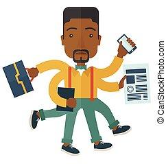 Black guy with multitasking job. - A multitasking job is a...
