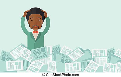 Black guy with paper works around him.
