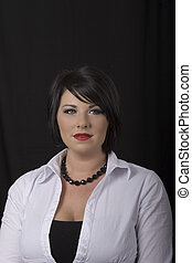 Black Hair and Necklace Looking Left - A black haired model ...
