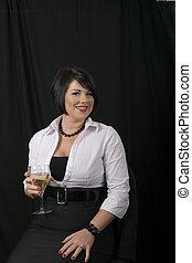 Black Hair and Wine Smiling at Camera