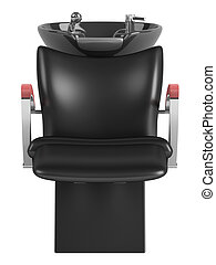 Black hair wash chair isolated on white background