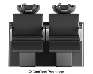 Black hair wash double seat chair isolated on white...
