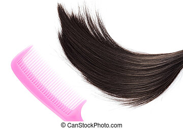 Black hair with pink hair comb on white background.