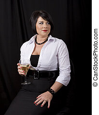 Black Hair with Wine Looking Left
