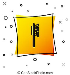 Black Hairbrush icon isolated on white background. Comb hair sign. Barber symbol. Yellow square button. Vector Illustration