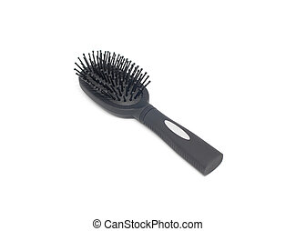 black hairbrush on white background