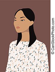 Black-haired beautiful young asian woman wearing a casual blouse, vector illustration