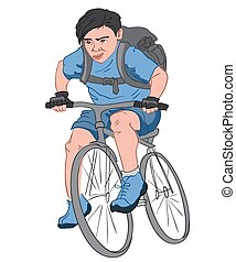 Black haired boy with a serious facial expression, dressed in blue clothes with a big black backpack riding his bike