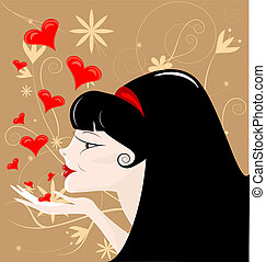 black-haired girl - on an abstract brown background...