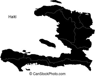 Black Haiti map separated on the departments