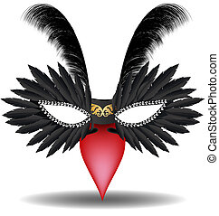 black halfmask with feathers - on a white background has a...