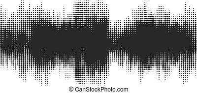 Black halftone abstract design background in the form of wave.