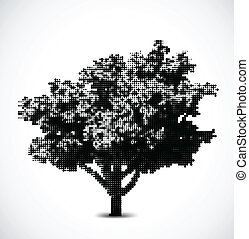 Black halftone tree. Vector