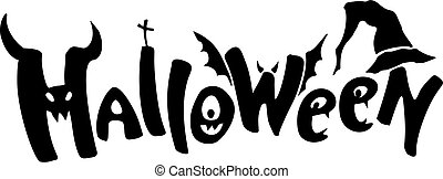 Black halloween decorative lettering. Element for your design.