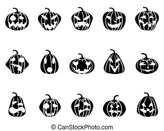 halloween pumpkin icons set - black halloween pumpkin icons...