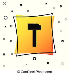 Black Hammer icon isolated on white background. Tool for repair. Yellow square button. Vector Illustration