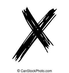 Black Hand drawn cross symbol
