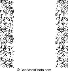 Black hand drawn high quality calligraphy borders with letters