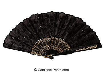 black hand fan isolated over white