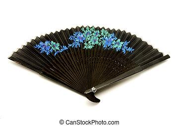 Black hand held fan