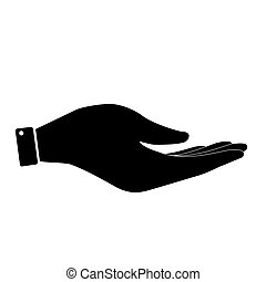 Black hand icon - Hand icon isolated on whita background....