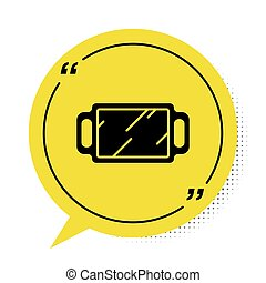 Black Hand mirror icon isolated on white background. Yellow speech bubble symbol. Vector Illustration