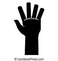 Black hand open image icon design