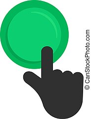 black hand pushing on green button