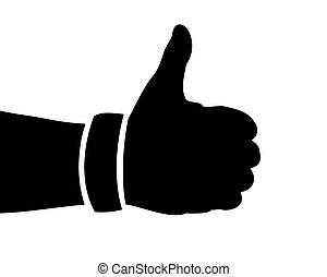 Black Hand Silhouette, Thumbs Up, Vector Illustration