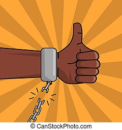 black hand thumbs up chain broken image