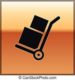 Black Hand truck and boxes icon isolated on gold background. Dolly symbol. Vector Illustration