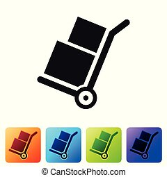 Black Hand truck and boxes icon isolated on white background. Dolly symbol. Set icon in color square buttons. Vector Illustration