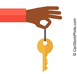 Black Hand with a key - A black hand holding a key. A...