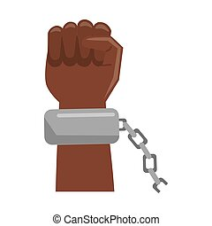Black hand with chain cartoon