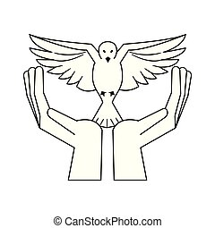 black hand with dove flying cartoon in black and white