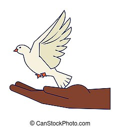 black hand with dove flying cartoon