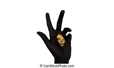Black Hand With Flaming Skull - Skull on painted hand opens...