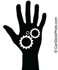 Black hand with gears
