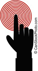 black hand with index finger touching red target or pressing a button
