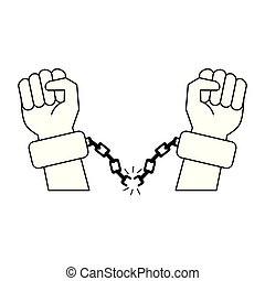 Black hands with chains cartoon in black and white