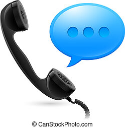 Black Handset and blue speechbox