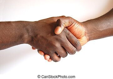 Black Handshake - This is an image of two people...