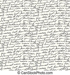 Black handwritten text on white vector repetition background. Poetry type seamless decor
