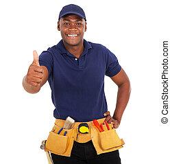 black handyman giving thumb up