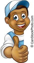 Black Handyman Peeking Sign Thumbs Up