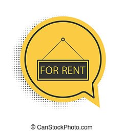 Black Hanging sign with text For rent icon isolated on white background. Yellow speech bubble symbol. Vector.